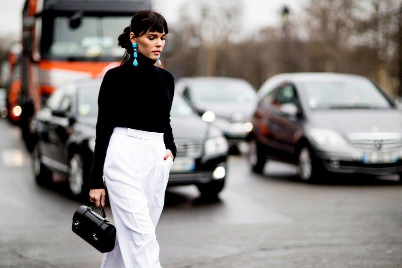Witte broek met hoge taille