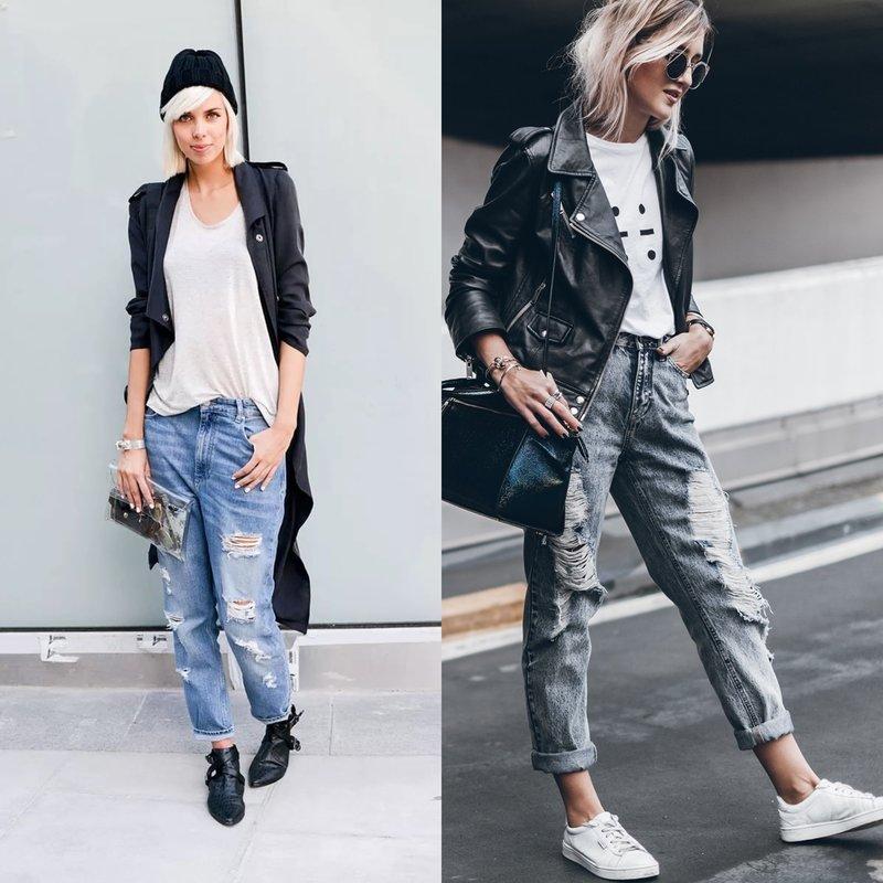 Dames boyfriend jeans: modieuze afbeeldingen