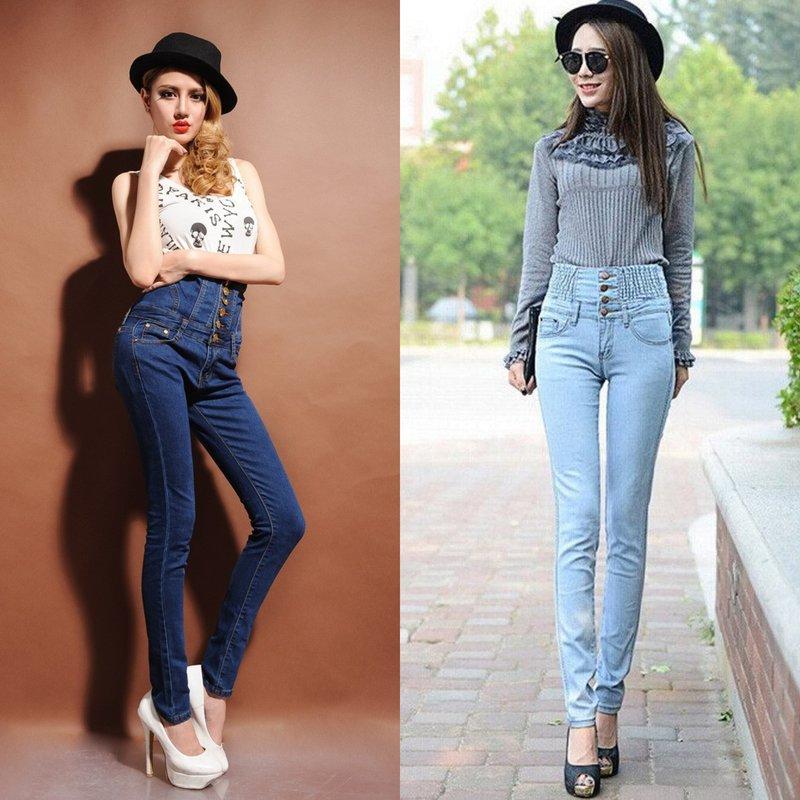 Meisjes in jeans met zeer hoge taille