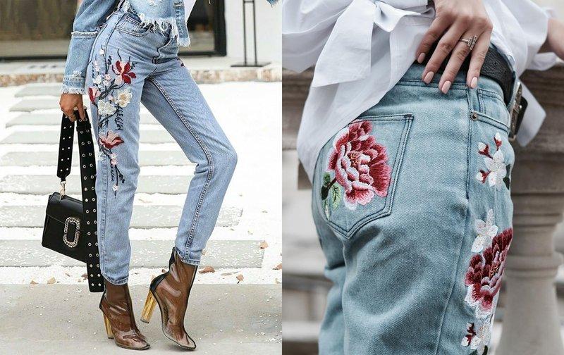 Decor jeans met de hand geborduurd