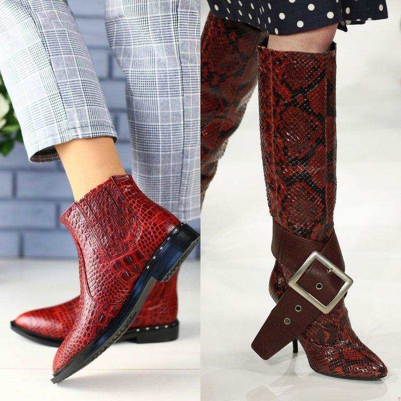 Raudoni roplių odos batai