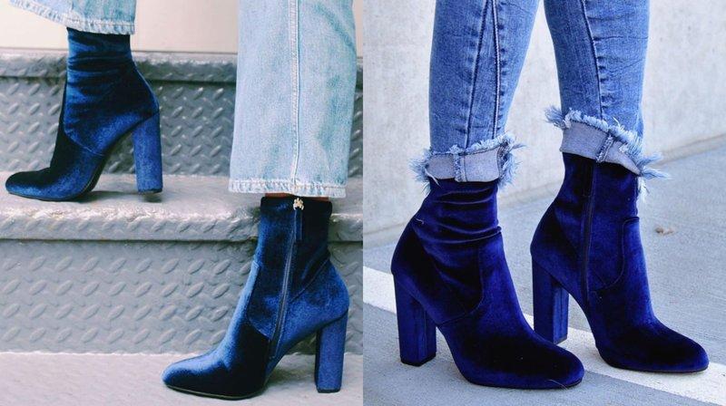 Mėlyni aksominiai kulkšnies batai