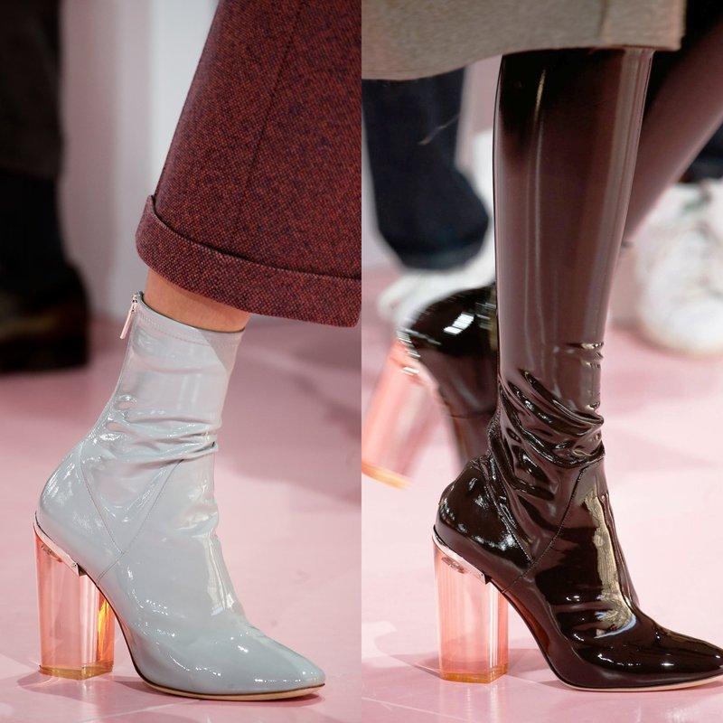 Lakinės odos batai su permatomais kulnais