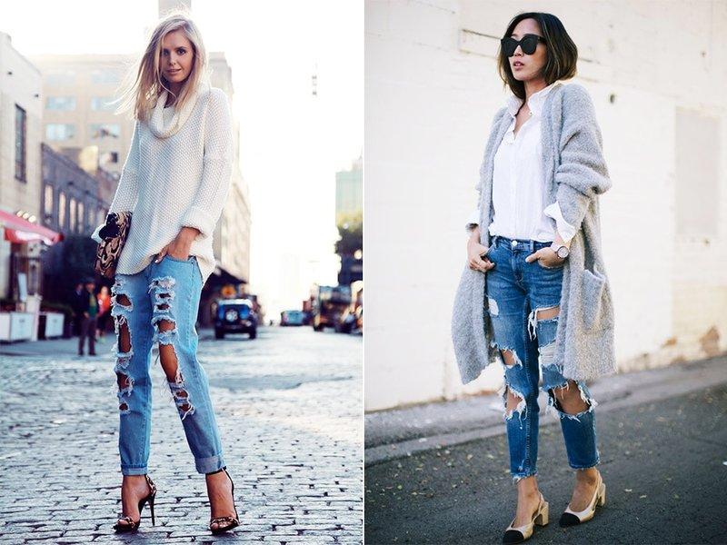 Modieus straatbeeld in jeans