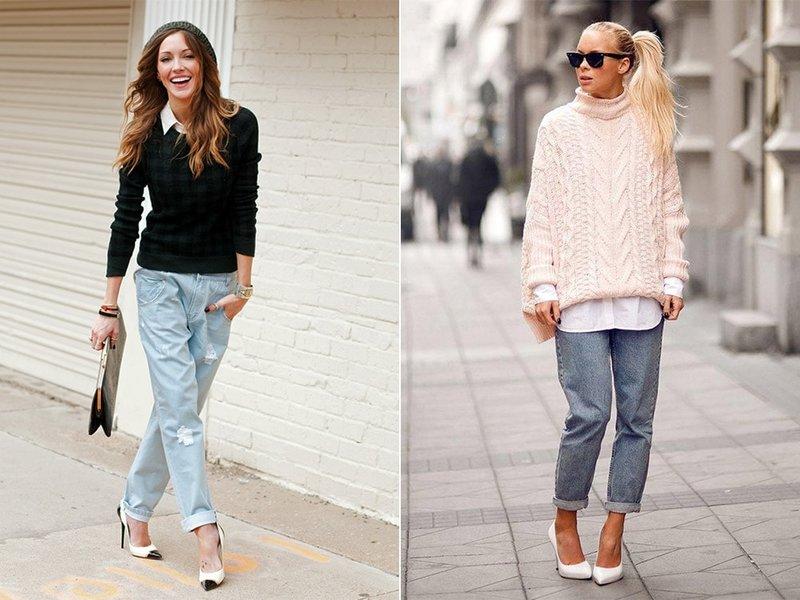 Boyfriend jeans en pumps: modieuze looks
