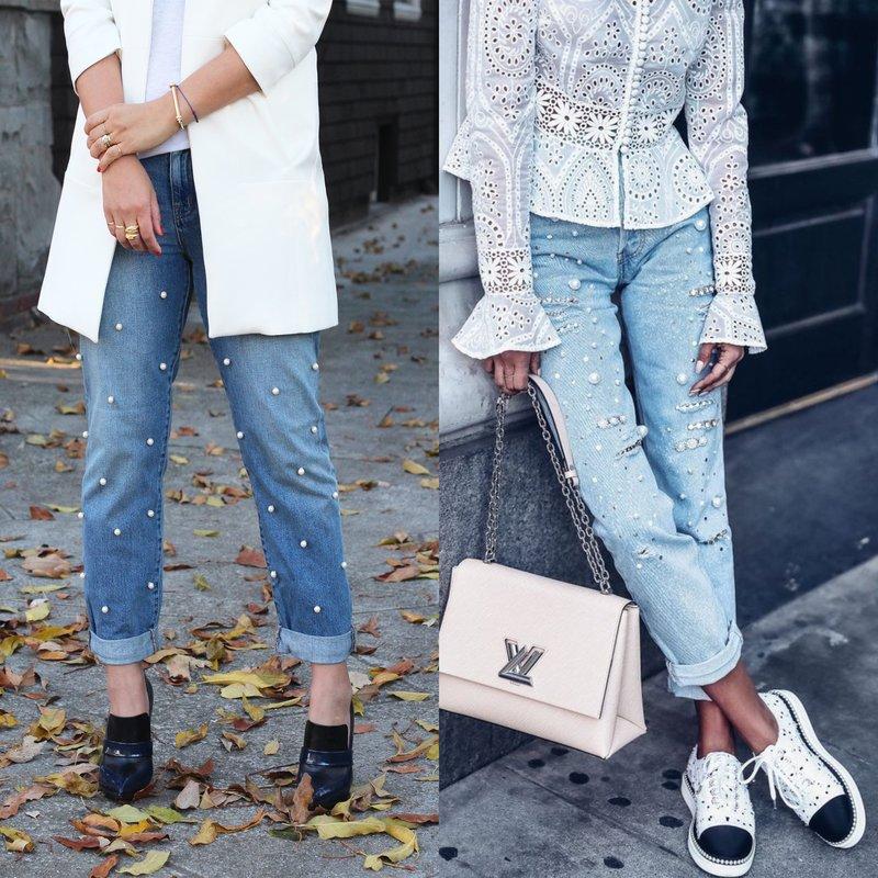 Parels op jeans over de hele lengte
