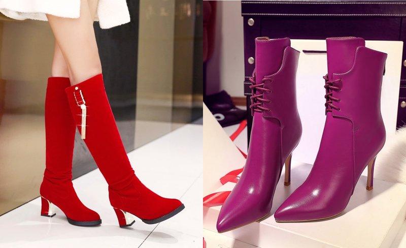 Ryškūs batų modeliai su smailia koja