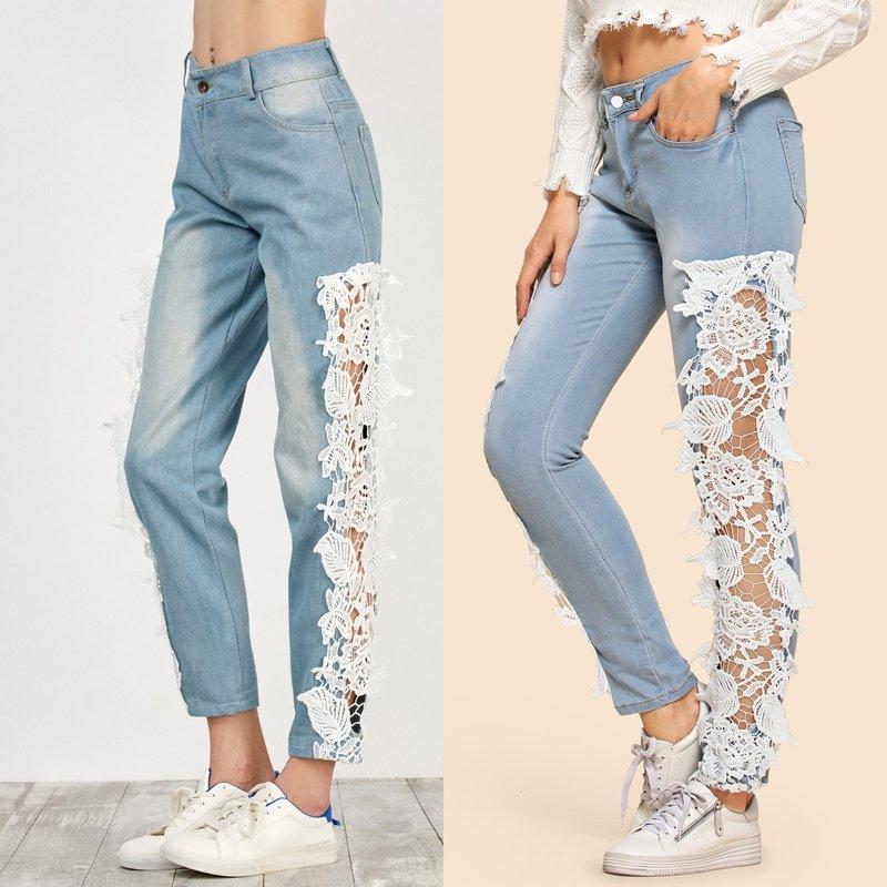 Jeans en kant: trendy uiterlijk
