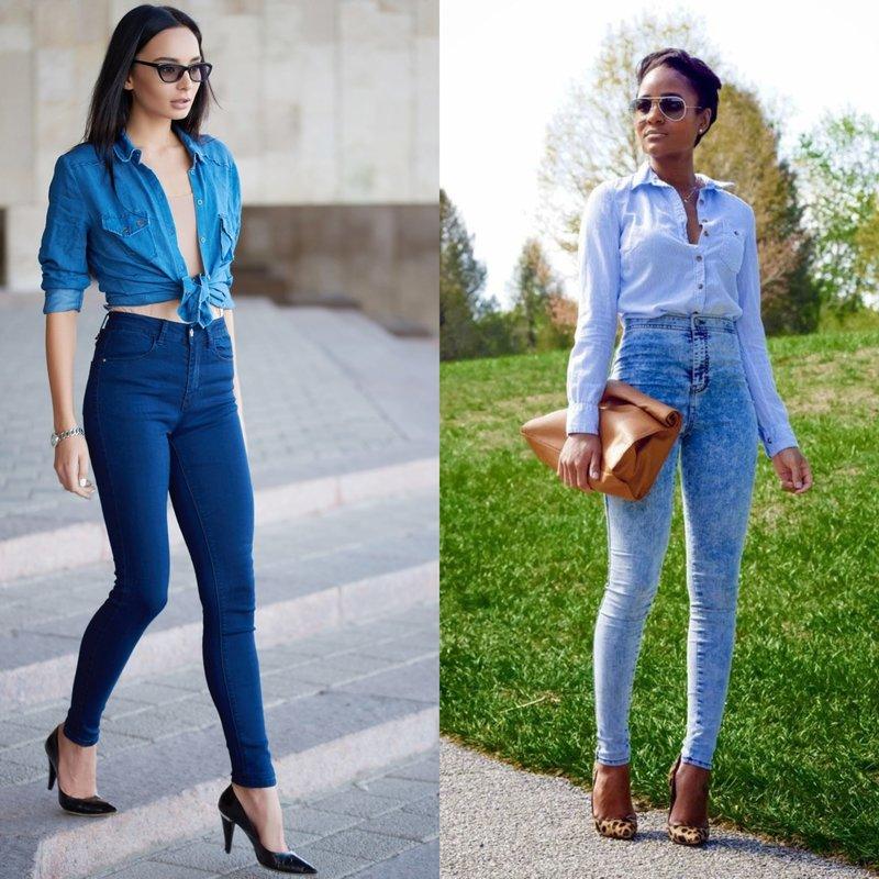 Meisjes in jeans met hoge taille