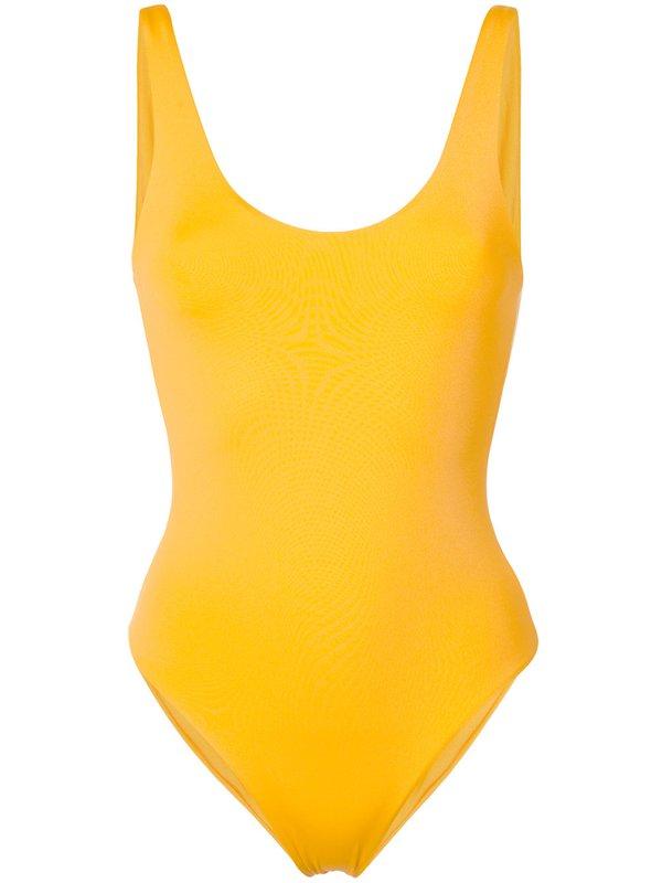 Ryškiai geltonas maudymosi kostiumėlis