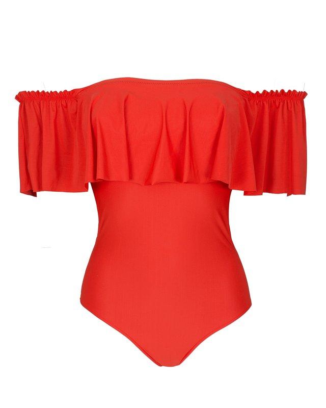 Raudonai oranžinis maudymosi kostiumėlis