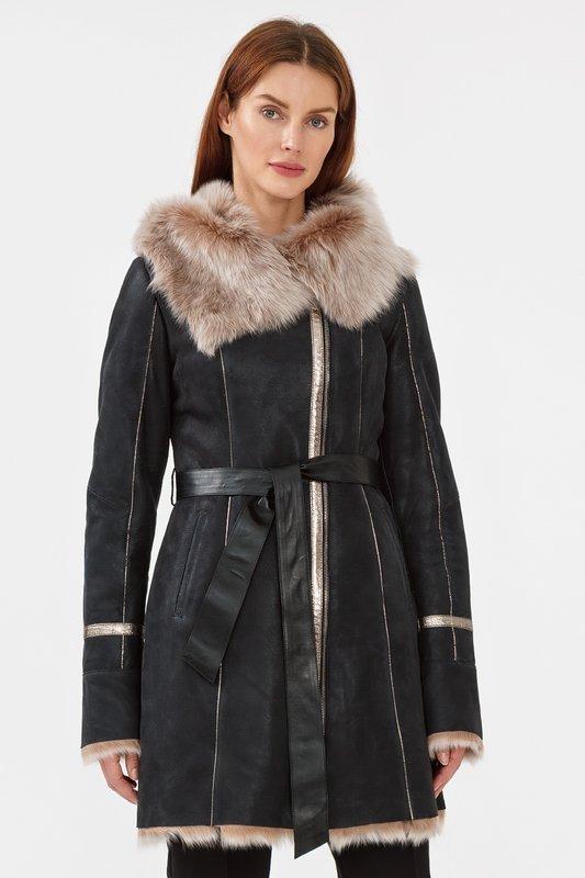 Shearling jas met bont van combinatie