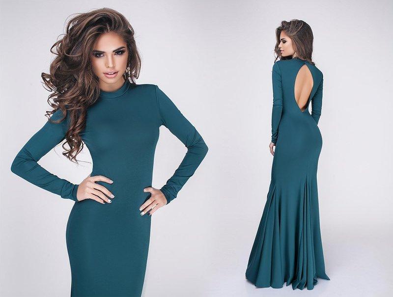 Groene jurk met een open rug