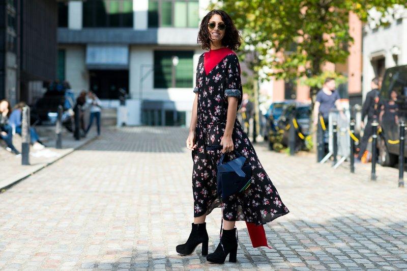Midi-jurk met bloemen