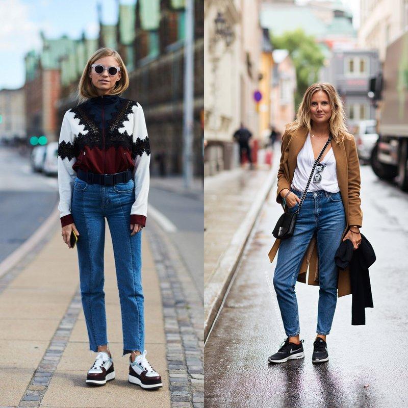 Moeders jeans met sneakers