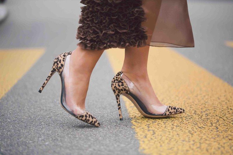 Leopardo spausdinimo batai su skaidriais įdėklais