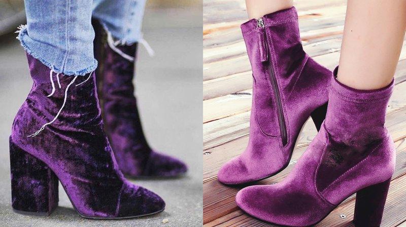 Rudens kulkšnies batai madingame purpuriniame atspalvyje