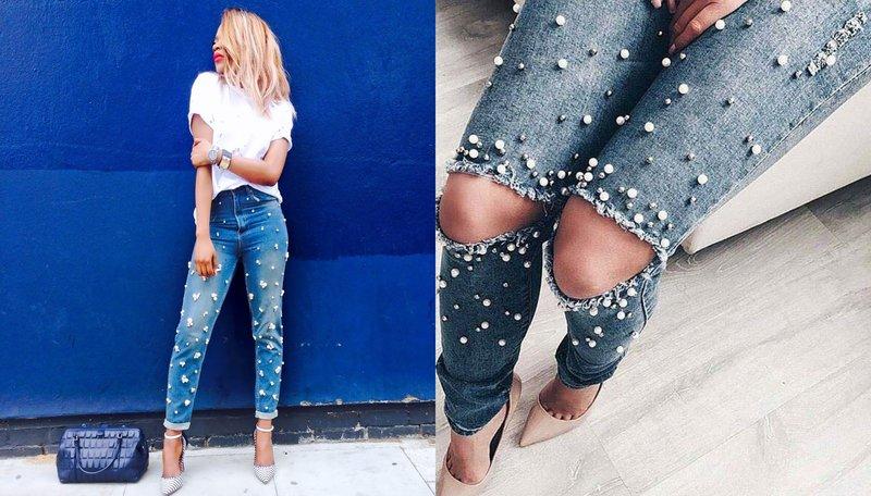 Meisje in spijkerbroek met parels