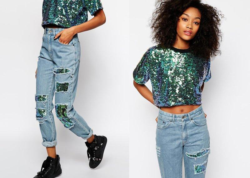 Stijlvolle look in jeans met extra decor