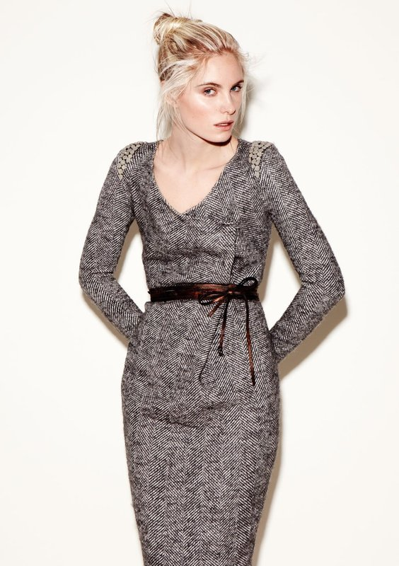 Tweed jurk met schede