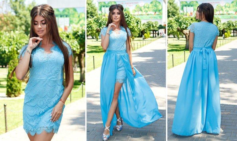 Blauwe jurk met afneembare rok