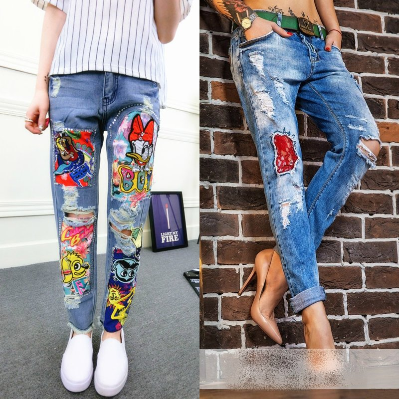 Dressing jeans met patches