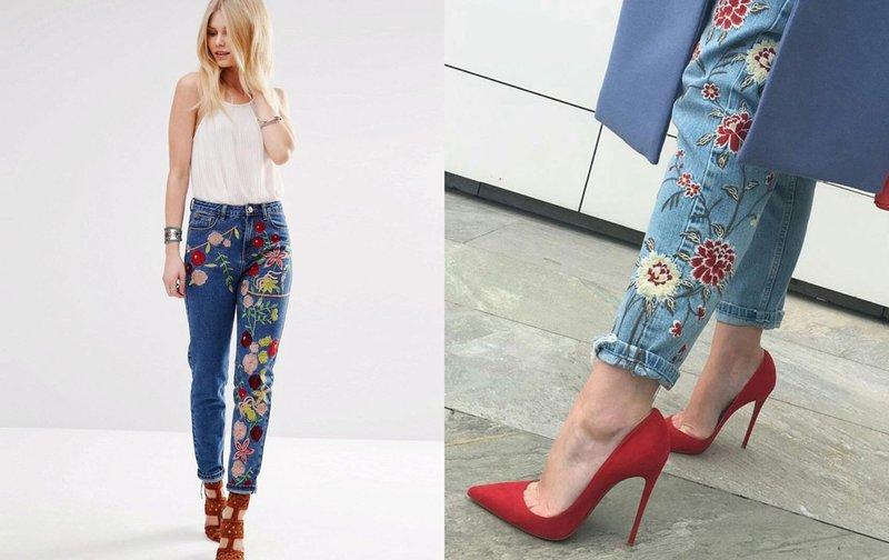 Origineel borduurwerk op jeans