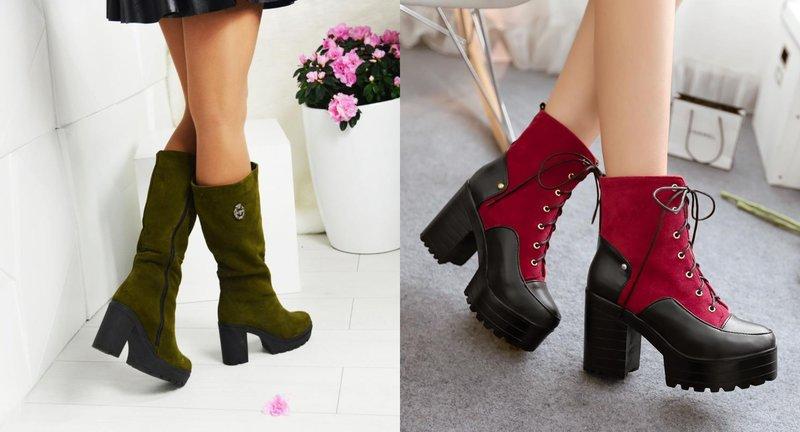 Žieminiai batai plačiais kulnais