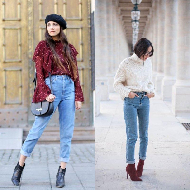 Modieuze afbeeldingen in jeans