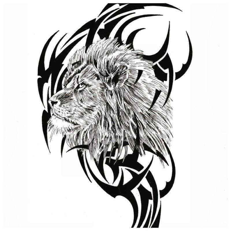 Liūtas ornamento fone