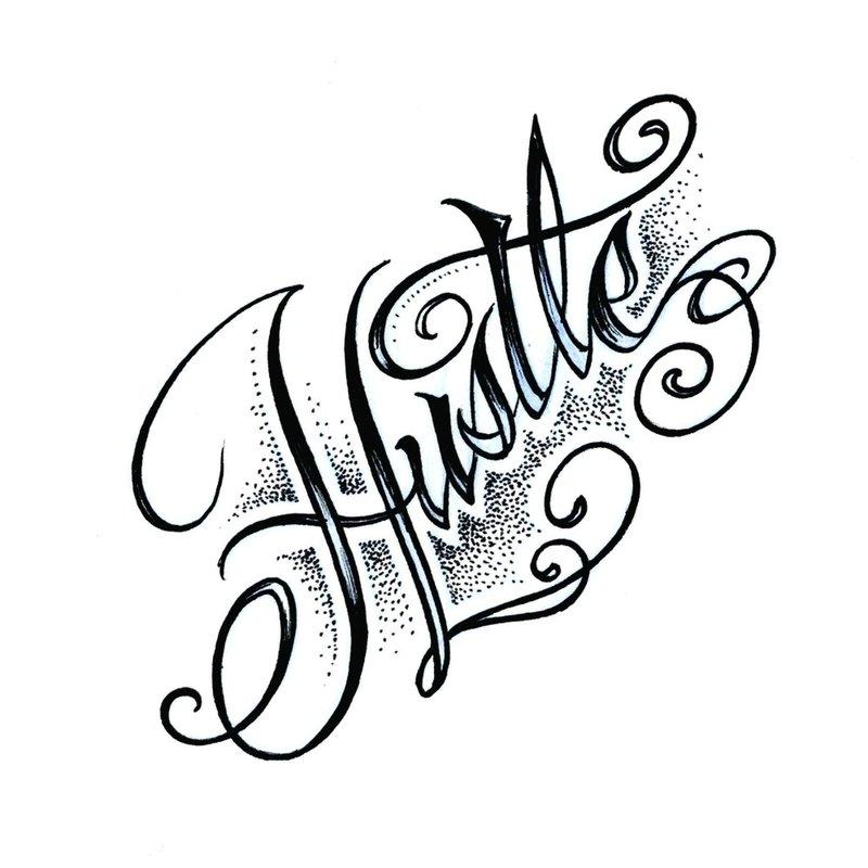 Hustlerio tatuiruotės eskizas