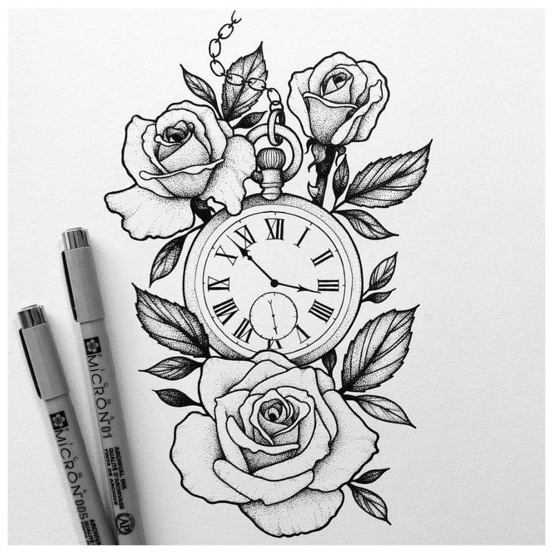 Tatuiruotės eskizas su laikrodžiu ir rožėmis