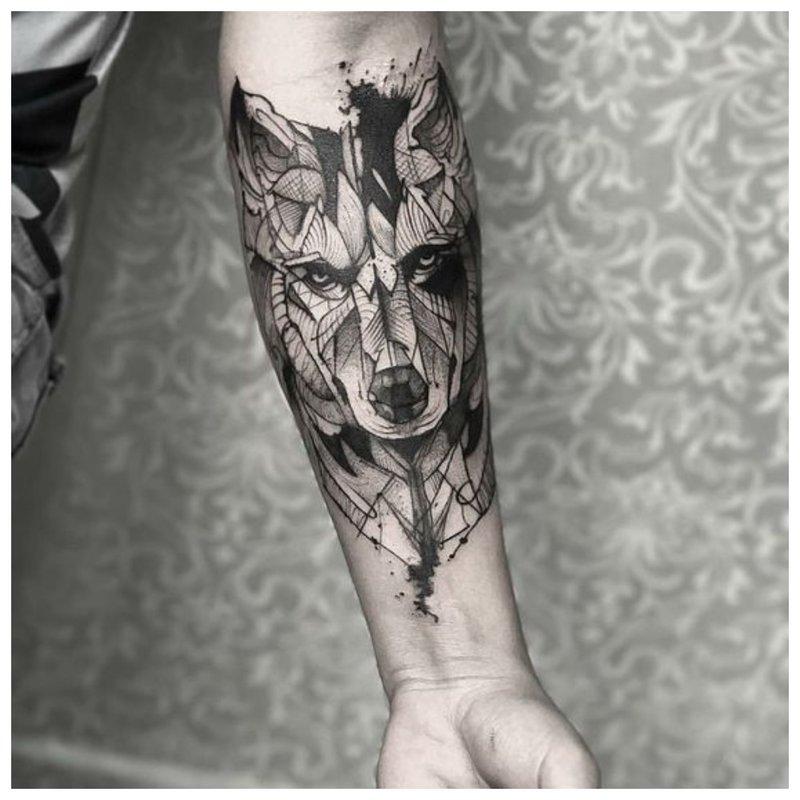 Realistische Wolf Tattoo