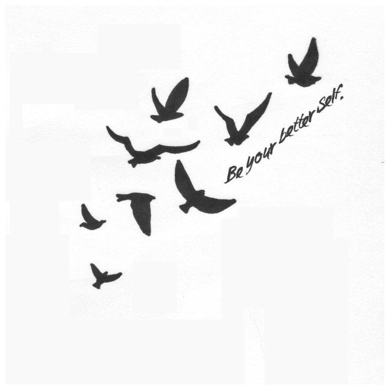 Paukščio tatuiruotės eskizas