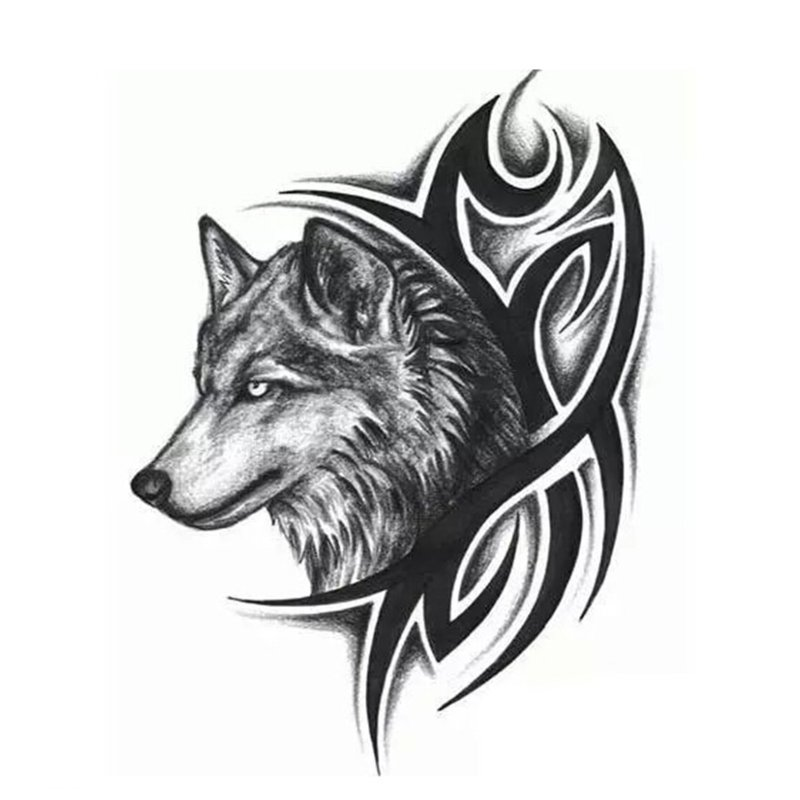 Vilkas - tatuiruotės eskizas