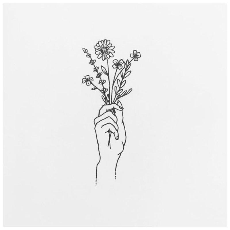 Tatuiruotės gėlių temos eskizas