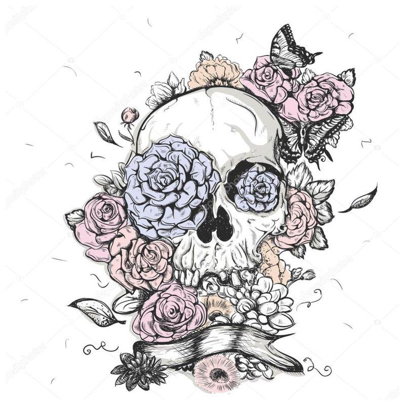Originali kaukolė - tatuiruotės eskizas