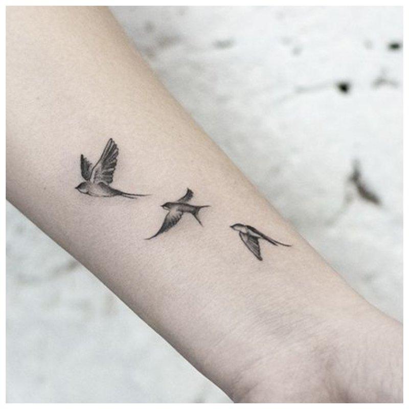 Paukščiai - riešo tatuiruotė