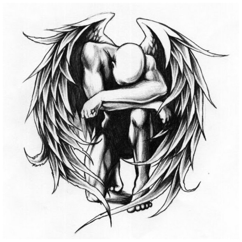 Nukritęs angelas - tatuiruotės eskizas