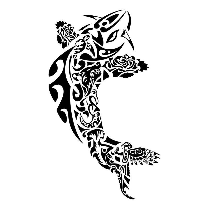 Tatuiruotės eskizas - abstrakti žuvis