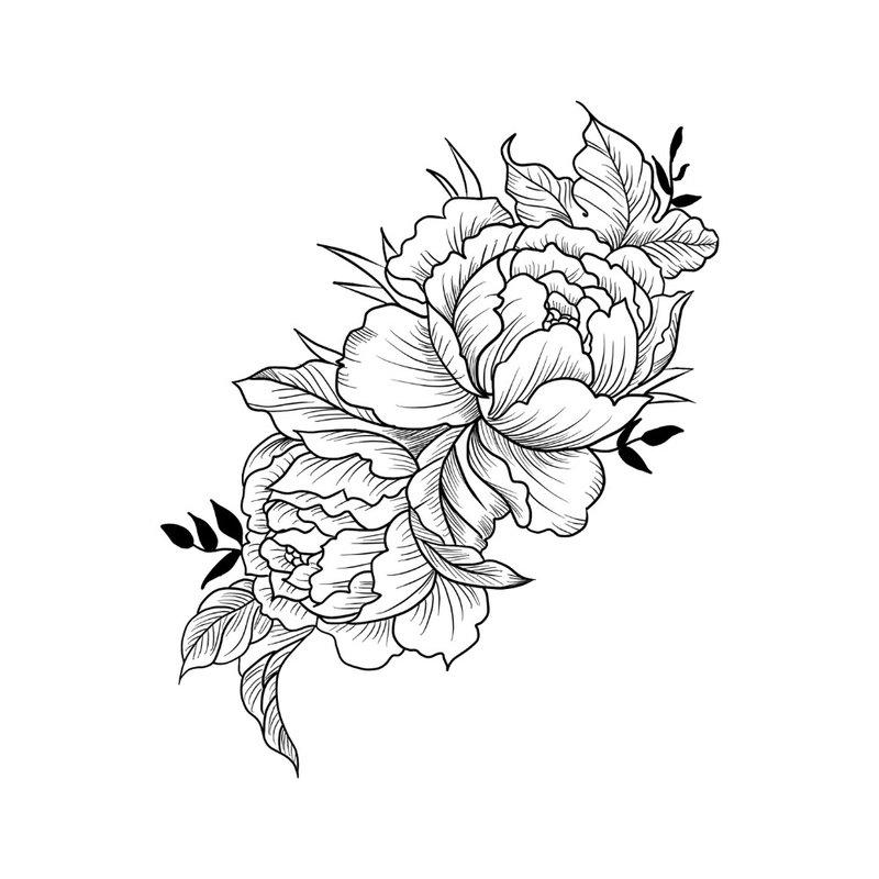 Graži gėlė - tatuiruotės eskizas mergaitei