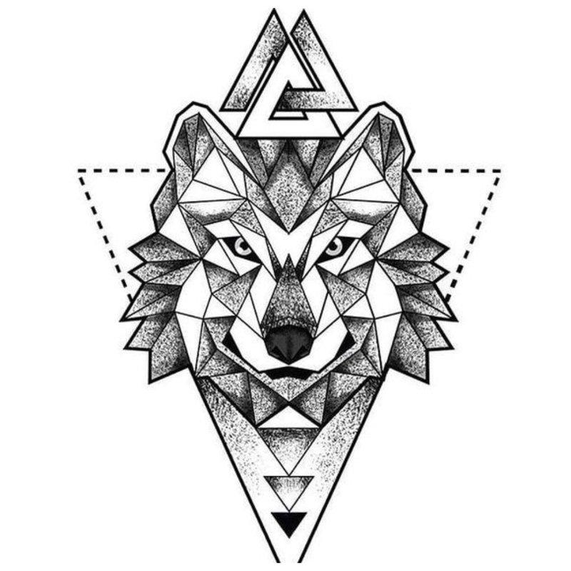 Symbolische schets van een wolf voor een tatoeage