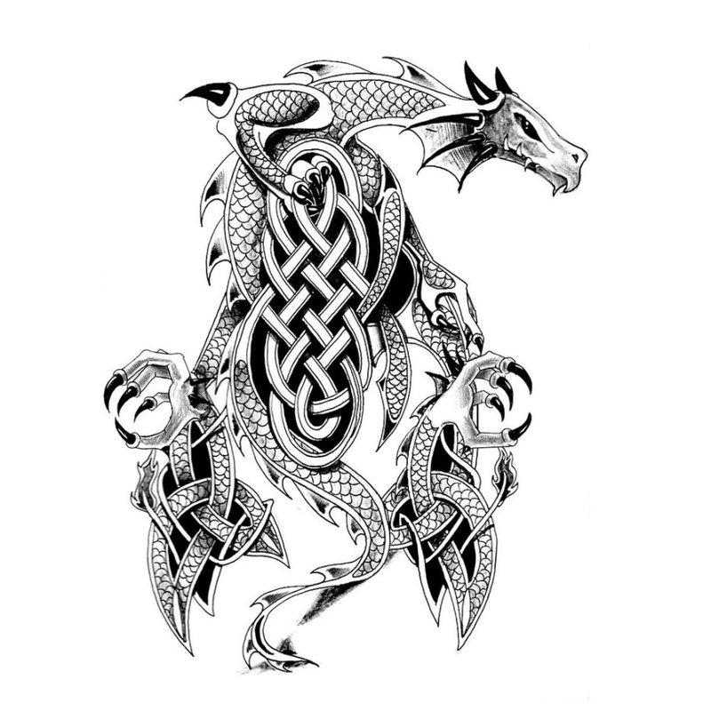 Tatuiruotės eskizas - juodai baltas drakonas
