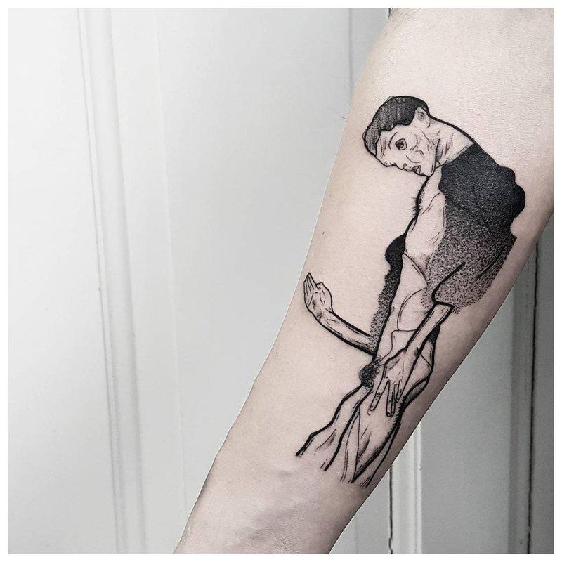 Žmogaus siluetas - tatuiruotė ant rankos