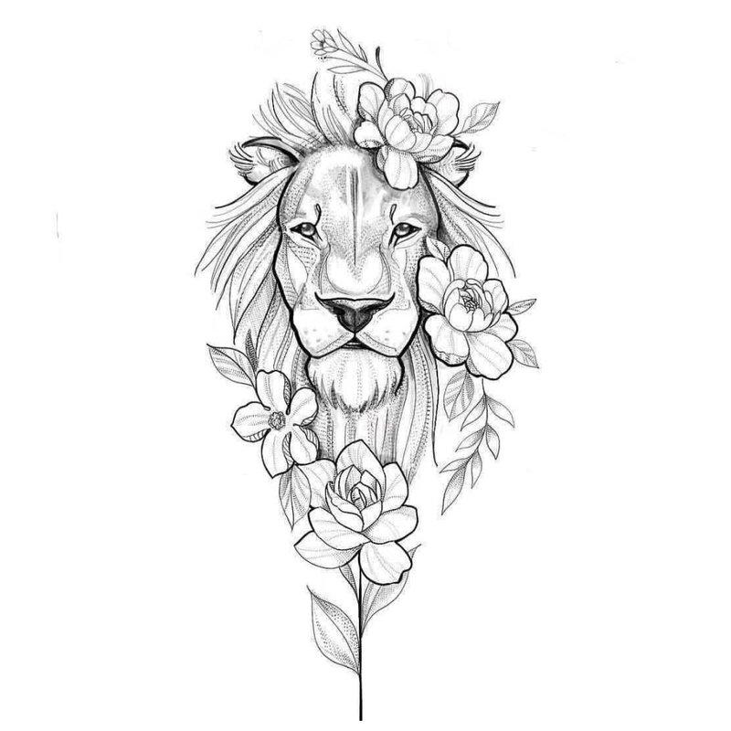 Gyvūnų tematikos tatuiruotės eskizas