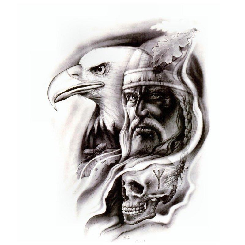 Tatuiruotės eskizas - portretas su ereliu