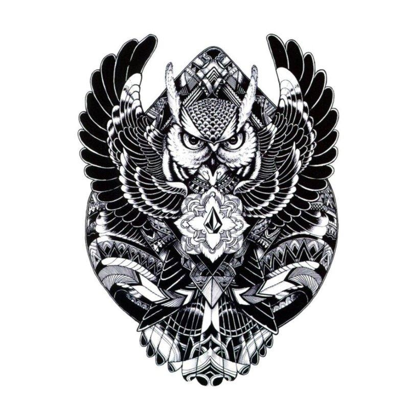 Tatuiruotės eskizas - juodoji pelėda