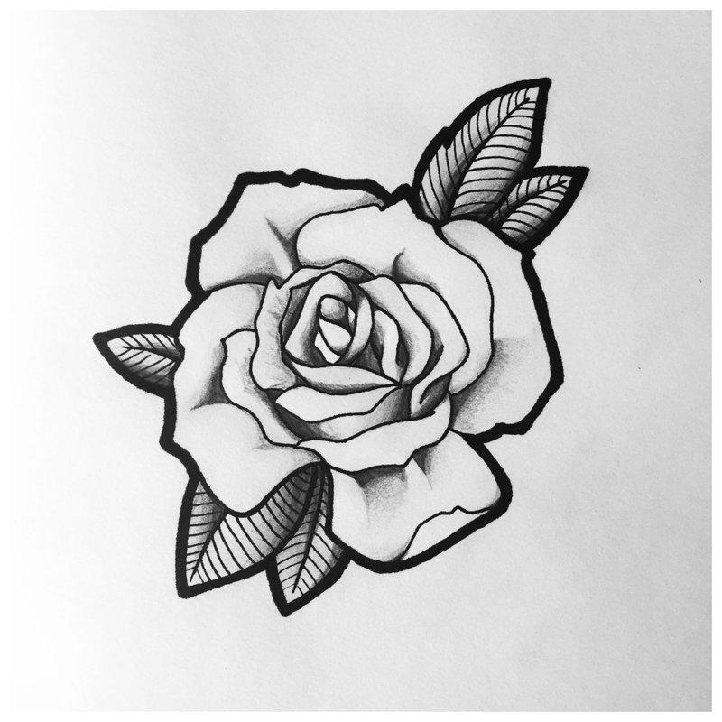 Rožė - gražus tatuiruotės eskizas