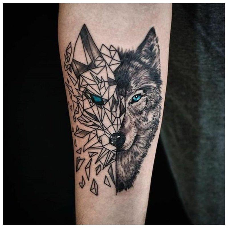 Wolf Tattoo in gemengde stijl