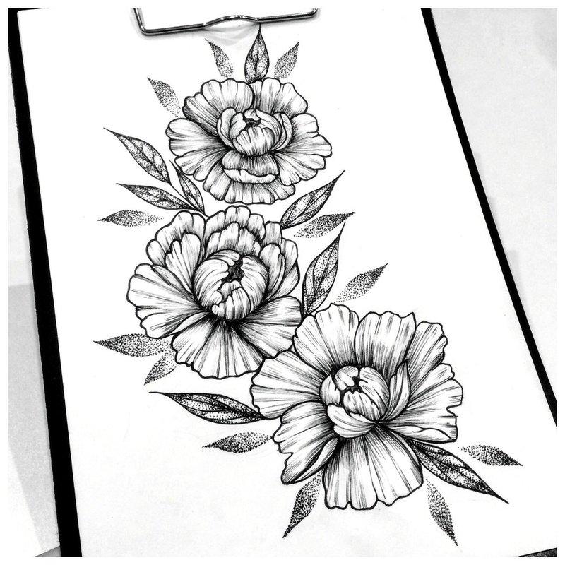 Gėlių tatuiruotės eskizas